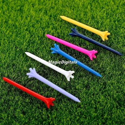 100pcs Assorted Color 70mm Zero Friction 5 Prong Plastic Golf Tees Tool Training
