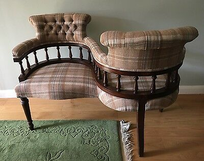 Antique Mahogany Love Seat Newly Reupholstered Pure Wool Beige Tartan