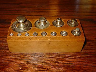 Antique Set brass scale weights- complete 12 with wood box-------15271