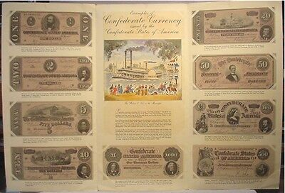 Confederate Currency Reproductions 9 Pieces - 1954