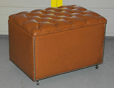 Brand New Custom Built Chesterfield Leather Ottoman Storage Space Piano Stool