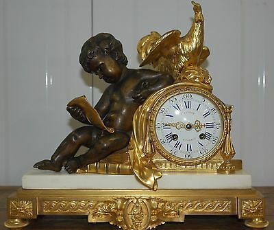 19Th Century Silver Medal Exhibition Winner French Bronze Marble Mantle Clock