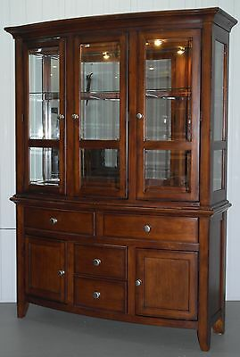 Mahogany With Glass Shelves & Spot Lights Welsh Dresser Mirrored Back Tapered