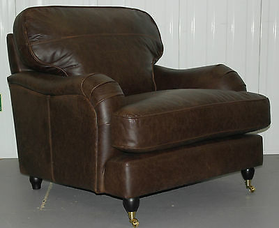 Brand New Howard Style Brazil Brown Vintage Leather Armchair Feather Cushions