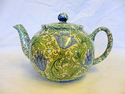 William Morris vintage anemone design 6 cup teapot by Heron Cross Pottery