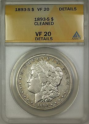 1893-S Morgan Silver Dollar $1 Coin ANACS VF-20 Details Cleaned **KEY DATE**