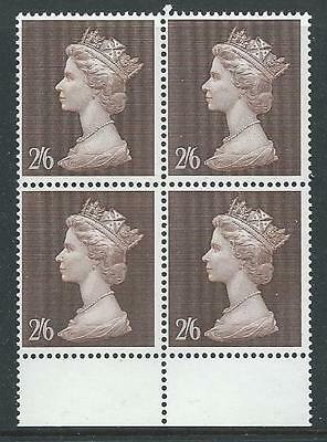 1969 MACHIN STERLING 2/6d BROWN BLOCK OF 4 SUPERB UNMOUNTED MINT