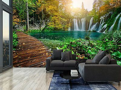 Nature Plants Bridge Lakes Forest Wall Mural Photo Wallpaper GIANT WALL DECOR