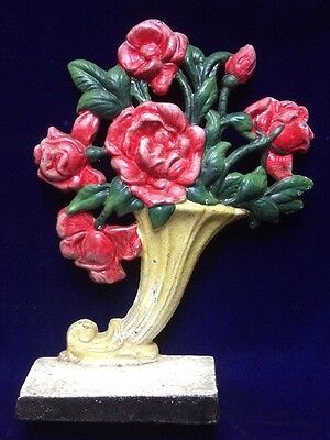 Cast Iron Hubley Doorstop #441 Roses In Cornucopia