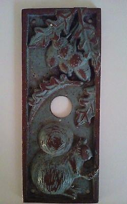 Antique Doorbell Push Button Switch Plate Cover Squirrel Acorn Design Cast Brass