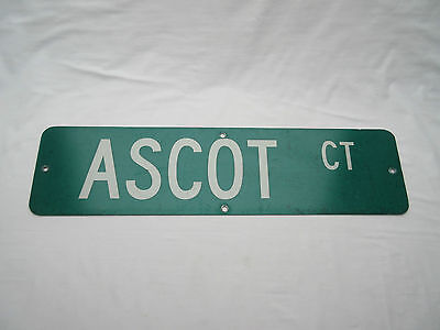genuine retro old not vintage Industrial American street road name sign ASCOT CT