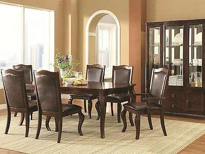 HUDSON - 7pcs Transitional Brown Rectangular Dining Room Table & Chairs Set