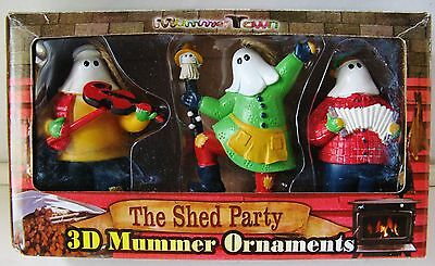 """NIB – Very Rare 'Mummer Town' Set of 3D Christmas Ornaments """"The Shed Party"""""""