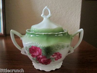 Antique Lg.art Pottery Germany China Dinnerware Double Handled Sugar Bowl & Lid
