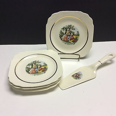 S/4 Harker China Early American Colonial Couple Square Salad Plates +Cake Lifter