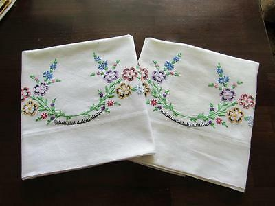 Vintage Colorful Hand Embroidered Pillowcases Floral Spray Mult-Color Standard