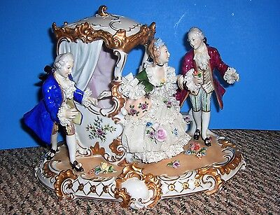 Elegant Dresden Lace Figurine with Carriage
