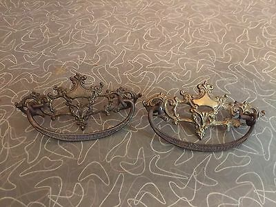 Pair of Antique Ornate Brass Drawer Pulls