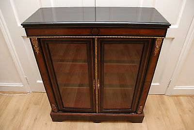 Antique French Ebony with Burr Walnut  Display Cabinet