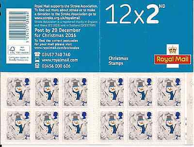 2016 Gb Royal Mail 12 X 2Nd Class Christmas Snowman Stamp Booklet Lx50 Cylinder