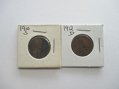 1910-S, 1912-D Lincoln Wheat Cent  Nice Early Dates!