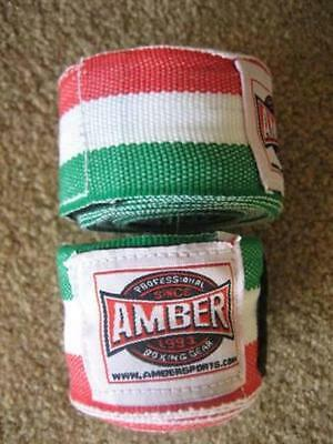 "AMBER HAND WRAPS  Red White Green 180"" Boxing MMA  (1 Pair)"