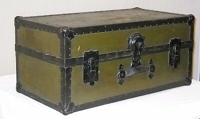 Antique Steamer Trunk Early 1900s Vintage Flat Top Coffee Table Decor Storage