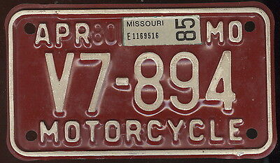 1985 State Of Missouri Metal Motorcycle License Plate
