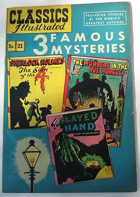 Classics Illustrated #21 3 FAMOUS MYSTERIES (HRN 21) 4th Edition VG+/F-