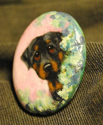 Original Painting~~~Rottweiler~tiny Dog~BEAD~miniature Portrait~Flowers
