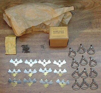 12 NOS Brass Drawer Pulls,Dresser,Bureau,Desk,Christensen #1939 Antique English