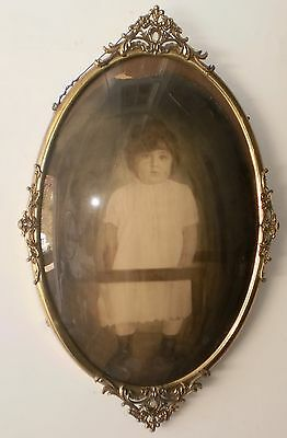 Vintage Antique Oval Metal Brass Ornate Victorian Bubble Convex Glass Frame