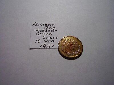 Rare Date From Old Japan Rainbow Tone Golden Colors 10 Yen Reeded 1957