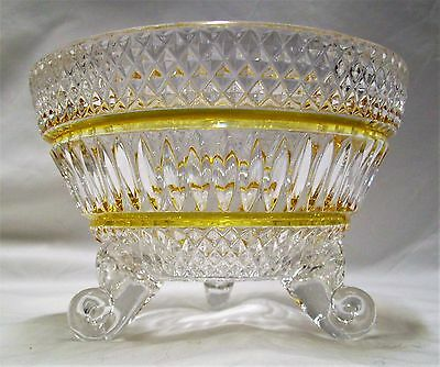 Antique Glass Tri Footed Bowl Hand Blown Cut Glass  Exc Con