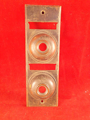 Rare Vintage Brass 2 Family Doorbell Button and Name Plate Nice Patina