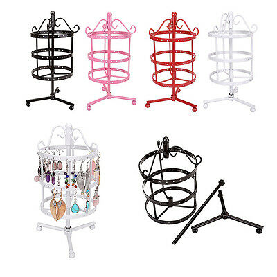 72 Holes Round Metal Earrings Jewelry Holder Display Rotating Stand Show Rack