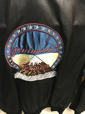 Paramount Pictures Black Leather Bomber Jacket Mans Coat Medium Cast & Crew