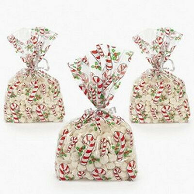 12 Bright Candy Cane Christmas Gusseted Cellophane Gift Bags - 28 x 12.5cm