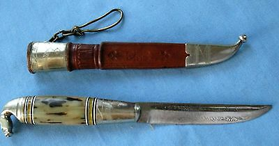 VINTAGE PUUKKO KNIFE w/LEATHER & SILVER SHEATH HORSEHEAD FINLAND