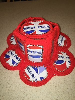 Pepsi-Cola Crochet 1970's Retro Vintage Hat Made With Real Cans