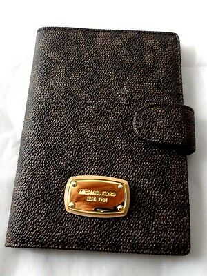 Michael Kors Jet Set Leather Passport Case Holder Cover Authentic Dark Brown