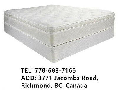 New Bed Pillow Euro Top Mattress Single Double Queen King With Boxspring Set