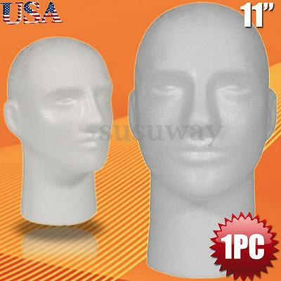 "1Pcs MALE STYROFOAM FOAM MANNEQUIN MANIKIN head 11"" wig display hat glasses"