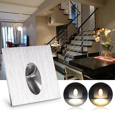 1W Square Recessed LED Light For Porch Pathway Step Stair Wall Walkway Cool/Warm