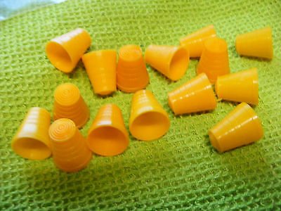 Lot of 15  Orange Plastic Thimbles...Vintage.. gumball machine or cereal premium