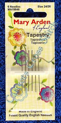 Cross Stitch Needles Size 24 (3) & 26 (3)  Needle Tapestry Made in England