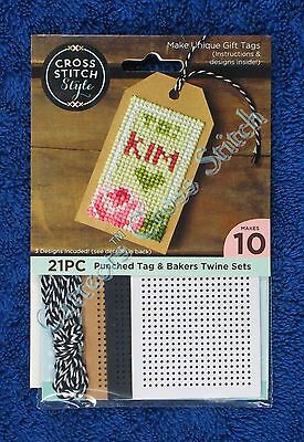 """Punched for Cross Stitch Gift Tags & Bakers Twine 10 Tags 4"""" x 2"""" Personalise"""