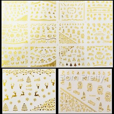 12pcs Gold Silver 3D Nail Art Sticker Sika Deer Christmas Snowflake Decals Tips