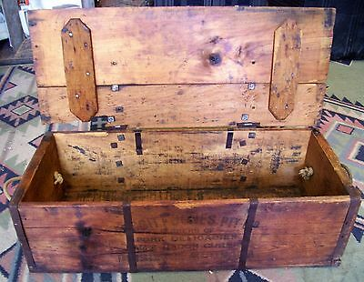 VINTAGE OLD PRODUCE BOX  CRATE WITH HINGED LID STAMPED pick up SHEPPARTON