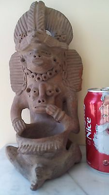 "11""h Pre Columbian Mayan Pottery Statue Figurine Vase Bowl W/ Father Mather Baby"
